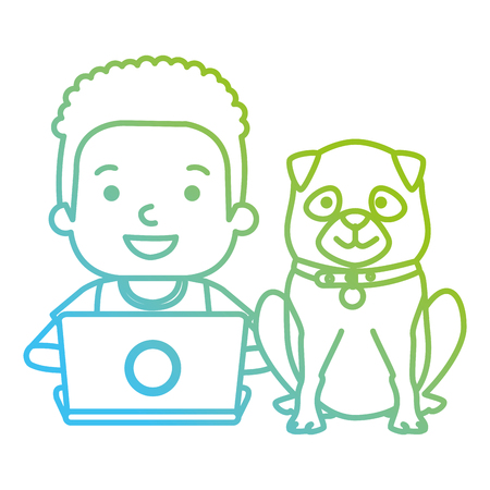 boy with laptop and cute dog vector illustration design Banque d'images - 102914575