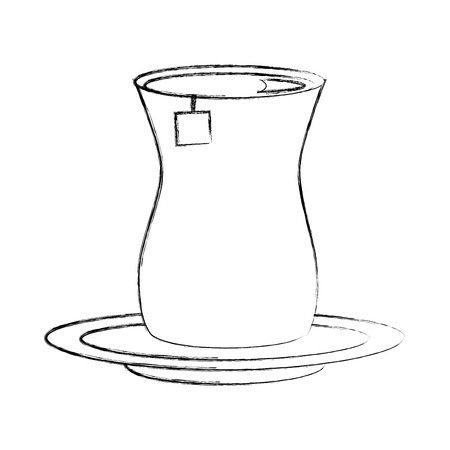 tea cup with teabag beverage on dish vector illustration sketch Çizim