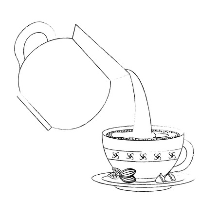 coffee maker pouring on ceramic cup vector illustration sketch