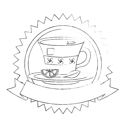tea cup with slice lemon and mint leaf on dish emblem vector illustration sketch Иллюстрация