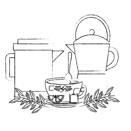 coffee maker and teapot tea cup with slice lemon vector illustration sketch Illustration