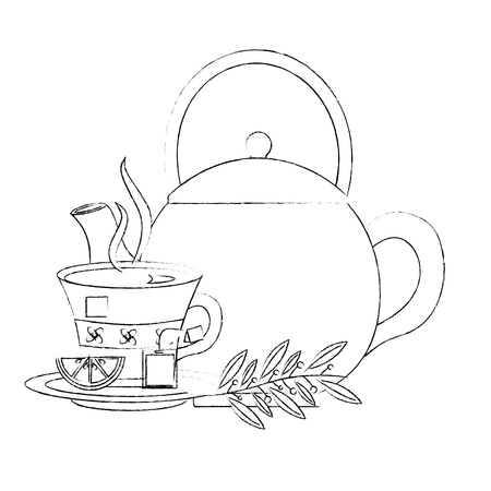 teapot tea cup with slice lemon mint branch vector illustration sketch