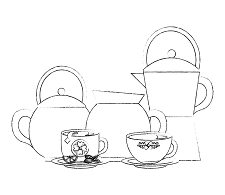 coffee maker kettle tea and cups lemon and seeds vector illustration sketch Ilustração