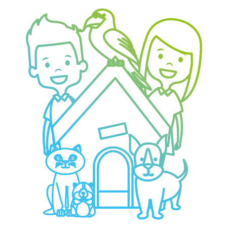 little kids with cute pets vector illustration design  イラスト・ベクター素材