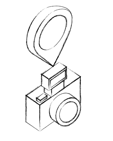 photographic camera with pointer map location vector illustration sketch Stok Fotoğraf - 102914638