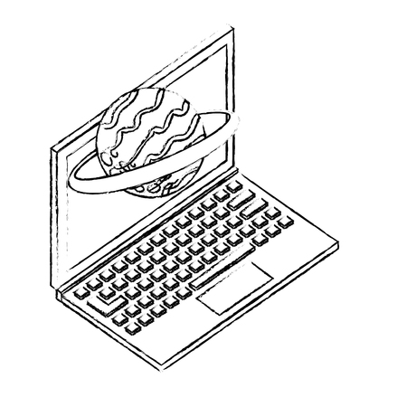 computer device and planet solar system vector illustration sketch