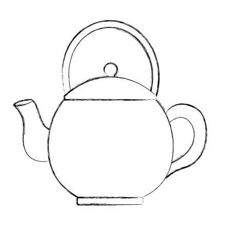 teapot ceramic kitchen utensil image vector illustration sketch Illustration