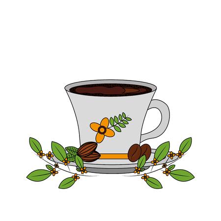 delicious coffee cup with grains icon vector illustration design