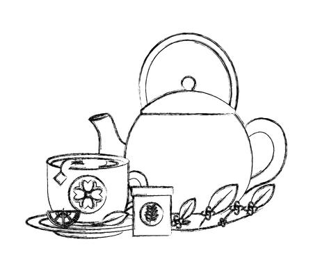 kettle tea cup with slice lemon herbal product vector illustration sketch Illustration