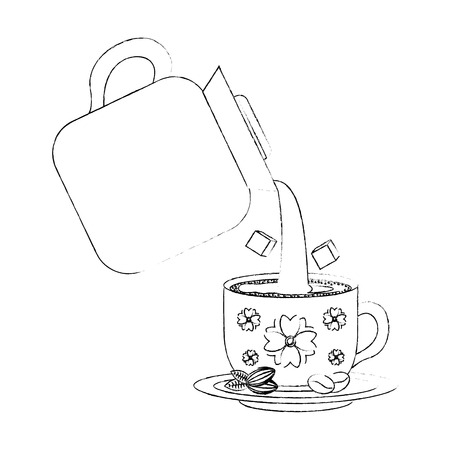 coffee make pouring beverage and sugar in cup vector illustration sketch