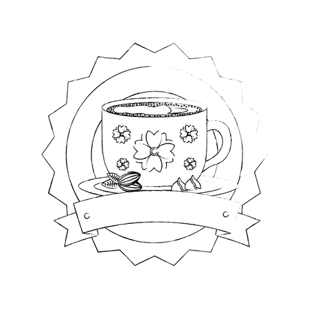 decorative flower coffee cup on dish emblem vector illustration sketch