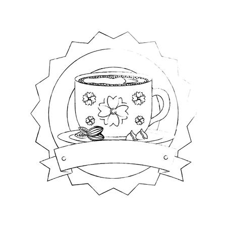 decorative flower coffee cup on dish emblem vector illustration sketch