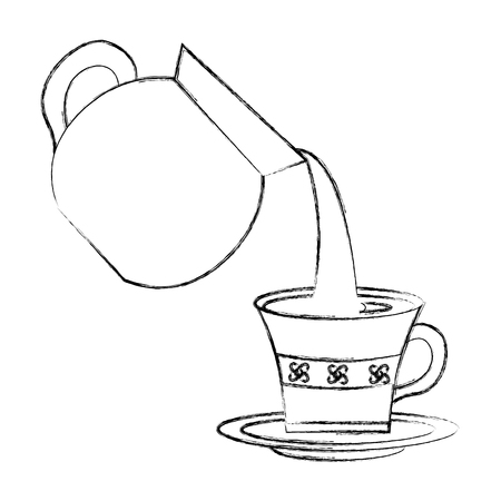 coffee maker pouring into cup with dish vector illustration sketch Foto de archivo - 102914722