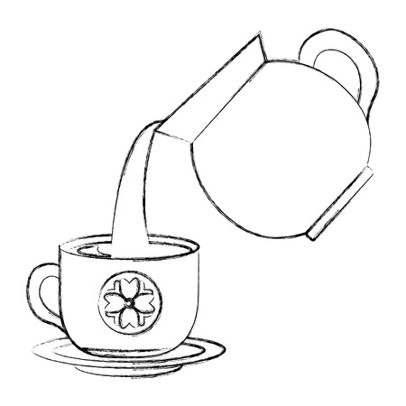 coffee maker pouring into cup with dish vector illustration sketch