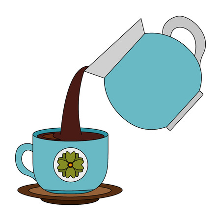 coffee teapot with cup isolated icon vector illustration design Ilustração