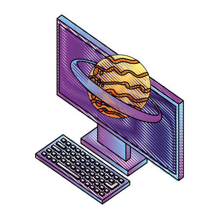 computer device and planet solar system vector illustration isometric