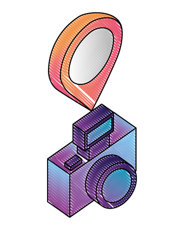 photographic camera with pointer map location vector illustration isometric