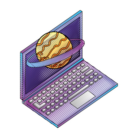 computer device and planet solar system vector illustration isometric Banco de Imagens - 102916108