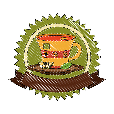 tea cup with slice lemon and mint leaf on dish emblem vector illustration drawing
