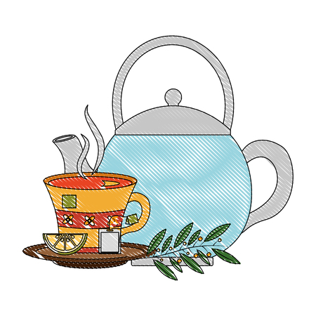 teapot tea cup with slice lemon mint branch vector illustration drawing