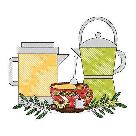 coffee maker and teapot tea cup with slice lemon vector illustration drawing