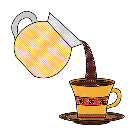 coffee maker pouring into cup with dish vector illustration drawing