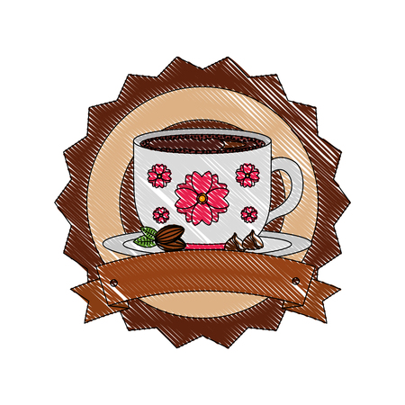 decorative flower coffee cup on dish emblem vector illustration drawing Imagens - 102914928