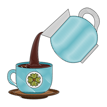 coffee maker pouring into cup with dish vector illustration drawing Foto de archivo - 102916117