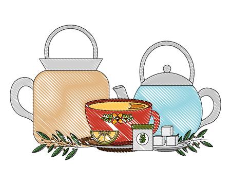 kettle coffee maker tea cup with slice lemon sugar vector illustration drawing