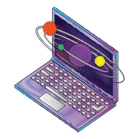 コンピュータデバイスと惑星太陽系ベクトル図等角図