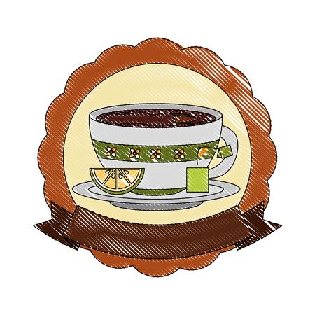 tea cup with teabag and lemon beverage emblem vector illustration drawing 일러스트