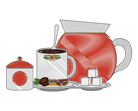 coffee maker cup and sugar seeds and spoon vector illustration drawing