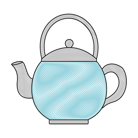 teapot ceramic kitchen utensil image vector illustration drawing Illustration