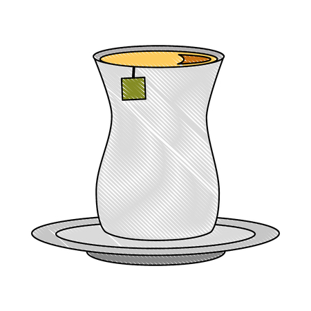 tea cup with teabag beverage on dish vector illustration drawing