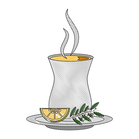 tea cup with lemon mint branch on dish vector illustration drawing Illustration