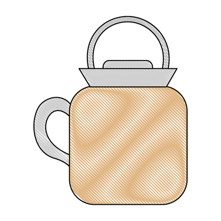 teapot ceramic kitchen utensil image vector illustration drawing Illustration