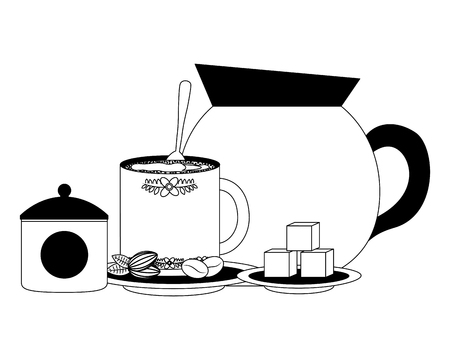 set coffee teapot with cup isolated icon vector illustration design Stock Illustratie