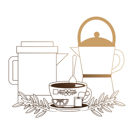 teapots with cup and leaves isolated icon vector illustration design