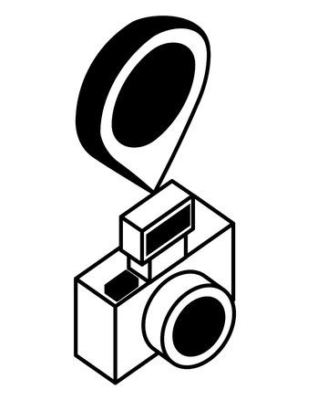 photographic camera with point location isometric icon vector illustration design Archivio Fotografico - 102915784