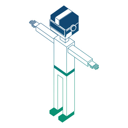 futuristic man isometric avatar vector illustration design Ilustrace