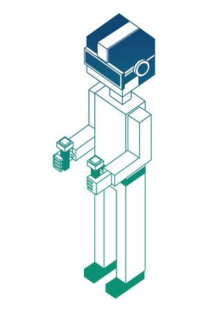 futuristic man isometric avatar vector illustration design Çizim