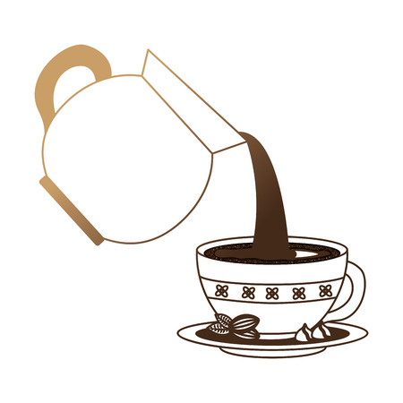 coffee teapot with cup isolated icon vector illustration design Çizim