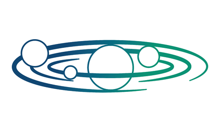 space planets orbiting isolated icon vector illustration design Çizim
