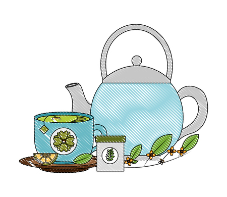 kettle tea cup with slice lemon herbal product vector illustration drawing Illustration