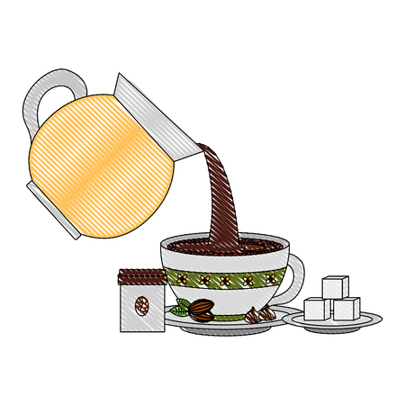 coffee maker pour cup sugar and product vector illustration drawing
