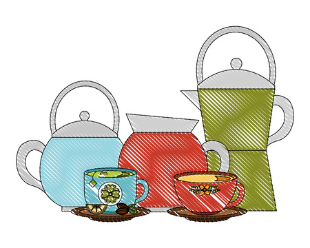 coffee maker kettle tea and cups lemon and seeds vector illustration drawing Çizim