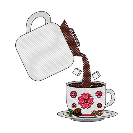 coffee make pouring beverage and sugar in cup vector illustration drawing Illustration