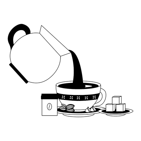 coffee teapot with cup isolated icon vector illustration design Ilustrace