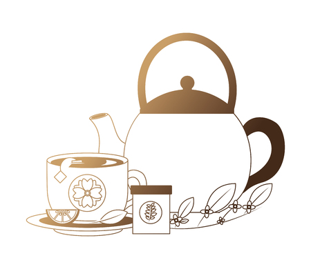 teapot with cup and pot isolated icon vector illustration design Illustration