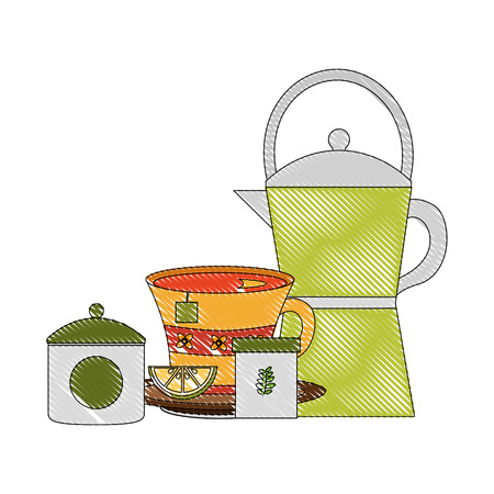 coffee maker tea cup with slice lemon herbal sugar vector illustration drawing Illusztráció